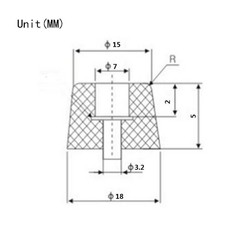 20 pcs M3 Orifício Do Parafuso de Borracha almofada Proteção Almofadas Do Pé de Borracha Eletrodomésticos 18x15x5 milímetros Cone máquina de borracha de amortecimento Mat