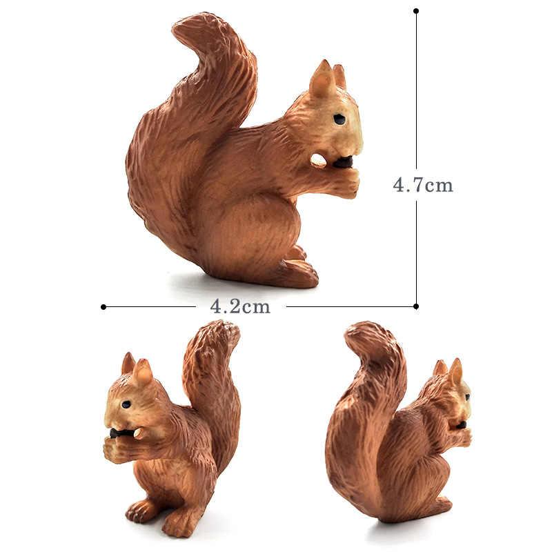 Simulação pequena raposa lebre coelho esquilo floresta modelo animal figura de plástico decoração brinquedo educativo estatueta presente para crianças