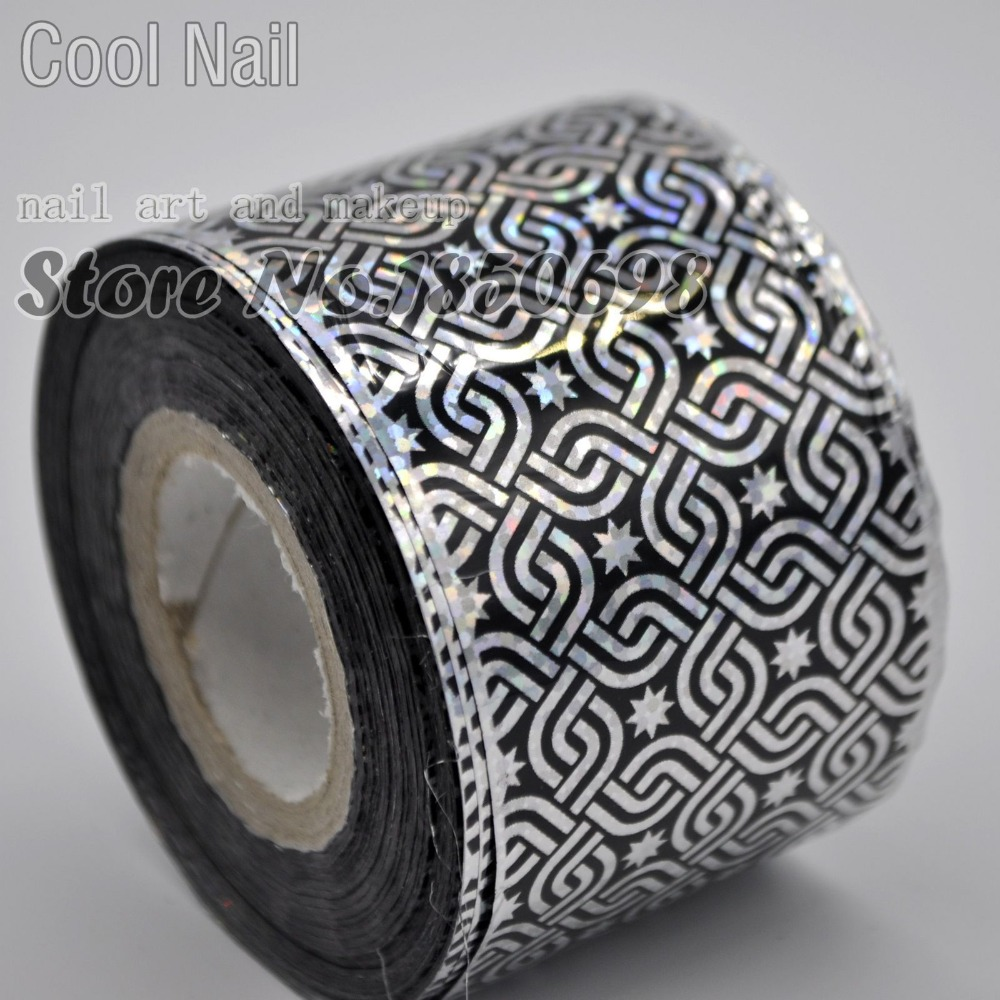 120m LARGE ROLL for Nail Art Salon Nail Art Transfer Wrap Decal Silver Black Nail Tips Decor Glue Transfer Foil Laser Knot R605 top nail 20 rolls of laser gold silver glitter striping tape line nail art tips decals beauty transfer foil stickers for nails