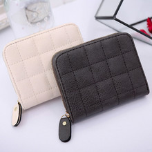 Women Short Wallets PU Leather Female Plaid Purses Nubuck Ca