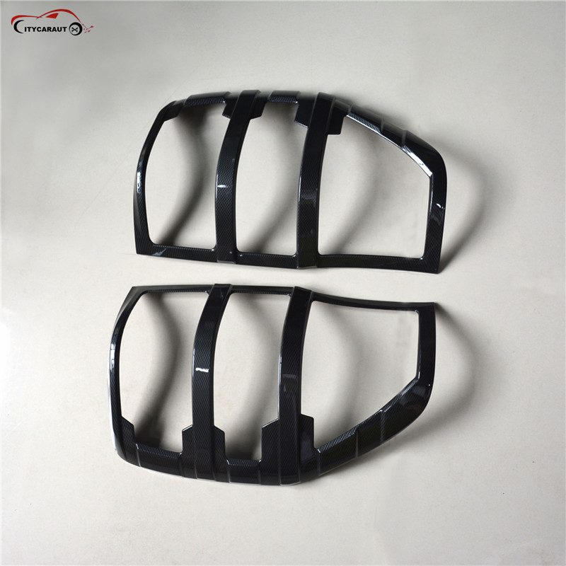 CITYCARAUTO Fit For Ranger Accessories Matte Carbon Tail Light Covers Trim For  T6 T7 2012- 2017 Car Styling Rear Lamp Cover