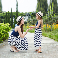 Summer Mommy and Me Family Matching Mother Daughter Dresses Sleeceless Striped Mom Dress Kids Outfits Casual Sister Baby Girl