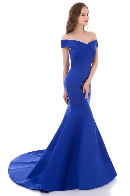 Robe De Soiree Hot Sell V-neck Floor Length Women Mermaid Royal Blue Long Evening Dress 2016