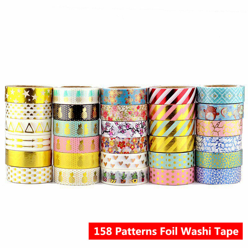 Patterns For Choice 10 Rolls/Lot Golden Foil Washi Tape Christmas For Scrapbooking Card Decorative DIY Masking Tape Wholesale