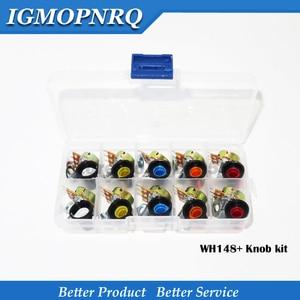 10PCS potenciômetro kit WH148 B1K B2K B5K B10K B20K B50K B100K B250K ohm 3PIN 15MM Knob AG2 15x17mm CADA 1pcs