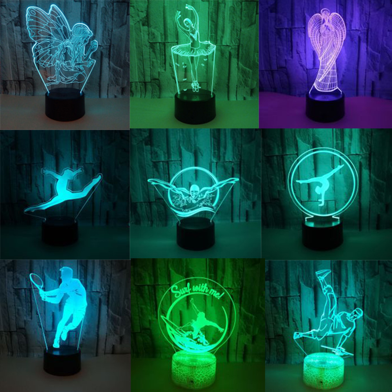 Party Diy Decorations Hard-Working New Ballet 3d Led Night Light Colorful Touch Lamp Birthday Valentines Day Gift Holiday Party Souvenir Party Wedding Decoration Special Summer Sale
