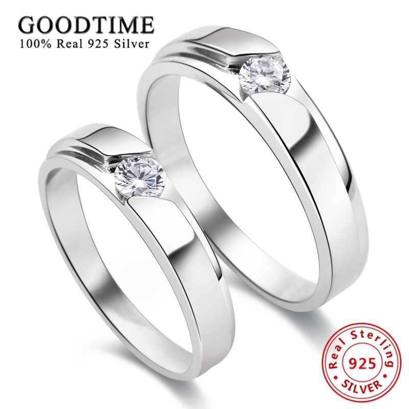 1PCS แหวน 925 เงินสเตอร์ลิงโรเดียม Pave Brilliant CZ แหวนเงินแท้ 925 แฟชั่นเครื่องประดับแหวน