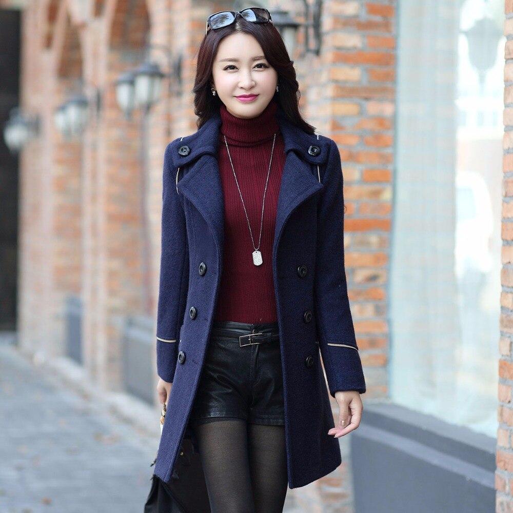 Élégant vent De Plus rouge Outwear Femmes Manteau Trench Coupe Femelle Bleu 2018 Nouvelle D'hiver kaki Laine Manteaux Vestes UdF8f