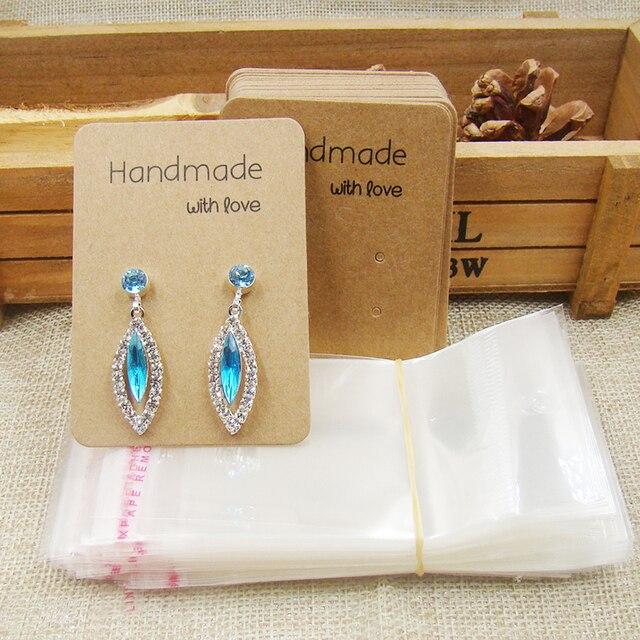 Whole Diy Jewelry Earring Cards Handmade With Love Kraft Paper Display Creative