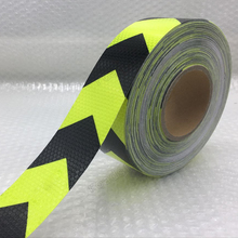 Fluorescent yellow Margin arrow PET Reflective Tape Reflective Safety Warning Tape for car free shipping grey reflective warning fabric sew on clothes for fashion free shipping