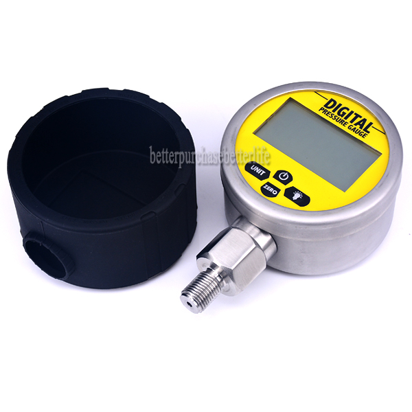 Battery Powered Metal Case Digital Pressure Manometer Gauge, 0-60Mpa G1/4 0.25% 3 Units ynxc 60 2 5 shock proof magnetic help 60mm oil liquid filled electric contact pressure gauge manometer lower mount bottom