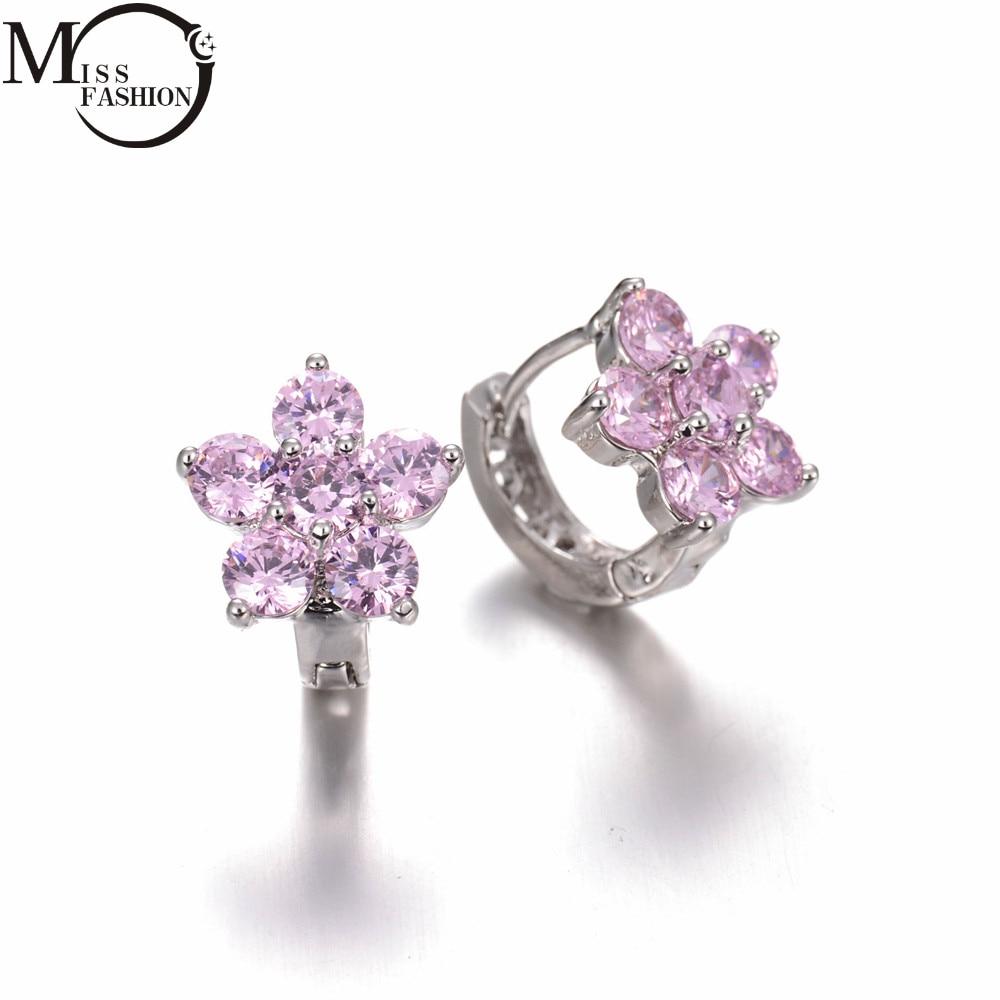 Christmas Gift Luxury High Quality Aaa Cubic Zirconia Small Flower Hoop  Earrings Women Wedding Jewelry Earings