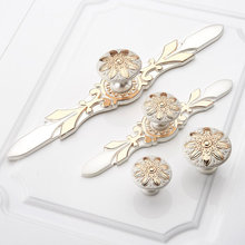 Shabby Chic Dresser Handles Pulls Knob Drawer White Gold Kitchen Cabinet Back Plate Flower Blossom Door pulls
