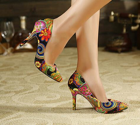 Fashion Pointed Toe Spring Summer High Heels Women 2016 New Lady Shoes Flower Print Sexy European Retro Style Ladies Pumps new 2017 spring summer women shoes pointed toe high quality brand fashion womens flats ladies plus size 41 sweet flock t179