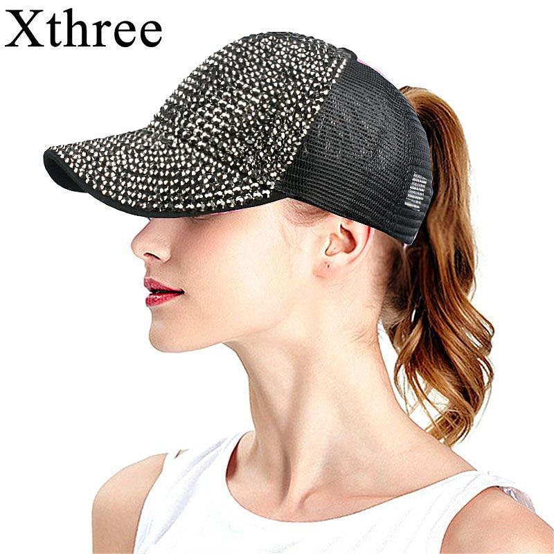 710efcc846c Xthree Summer Rhinestone Ponytail Baseball Cap Mesh Hats For Women Girl  Messy Bun Casual Baseball hats