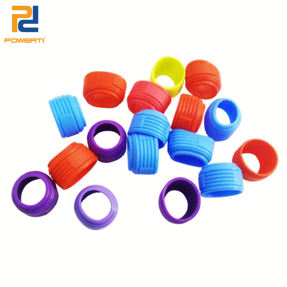 POWERTI 20pcs/lot Silicone Badminton Racket Grip Ring Racket Handles Rubber Ring Sweat Overgrip Multi Color