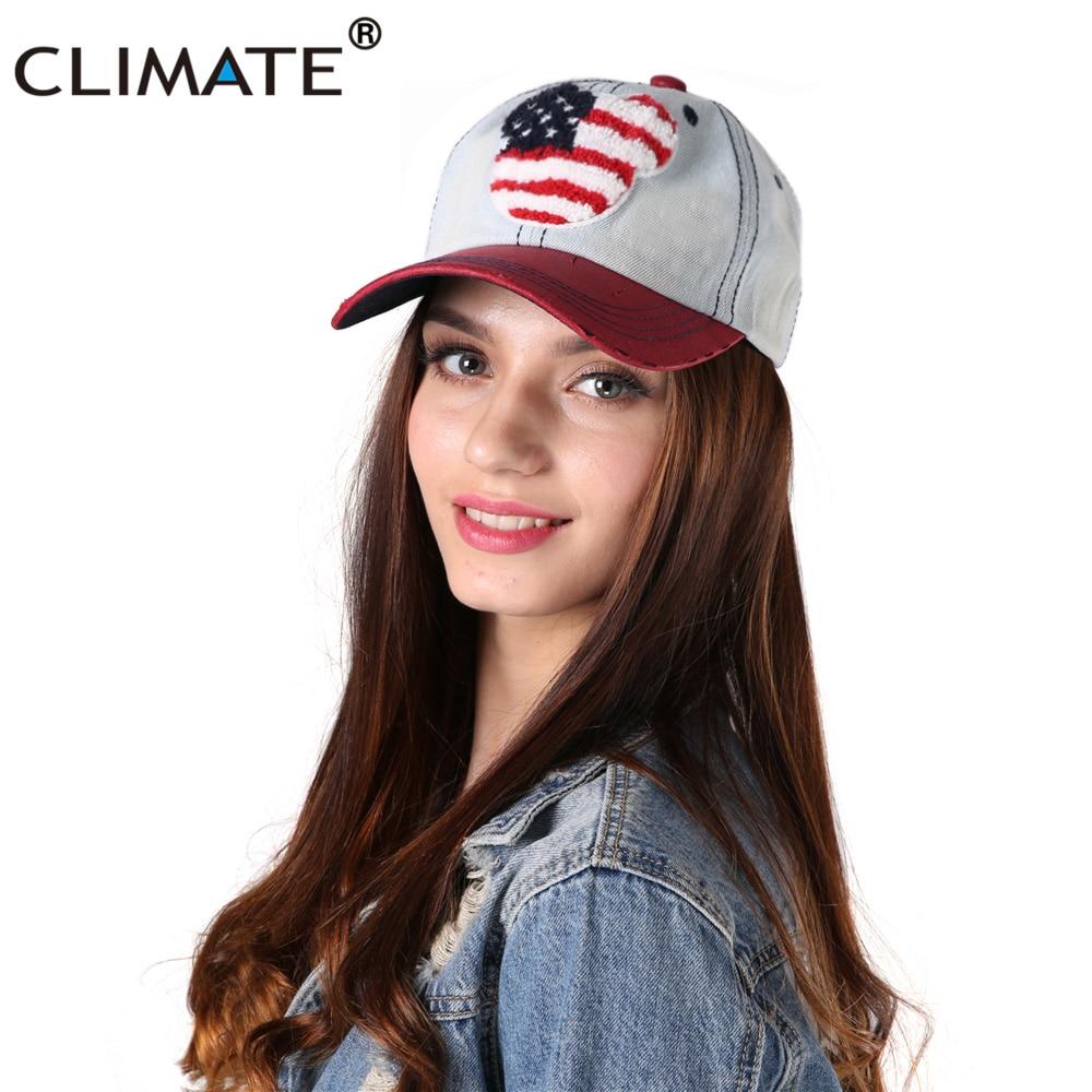 CLIMAT Femmes Mickey Denim Baseball Caps USA Drapeau Suede Réglable Faux Suede Peak Unisexe Hommes Femmes Sport Caps Chapeau Pour femmes