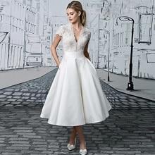 Verngo Boho Evening Dress Lace Appliques Satin Party Simple V-Neck Gown Short Vestidos Elegantes
