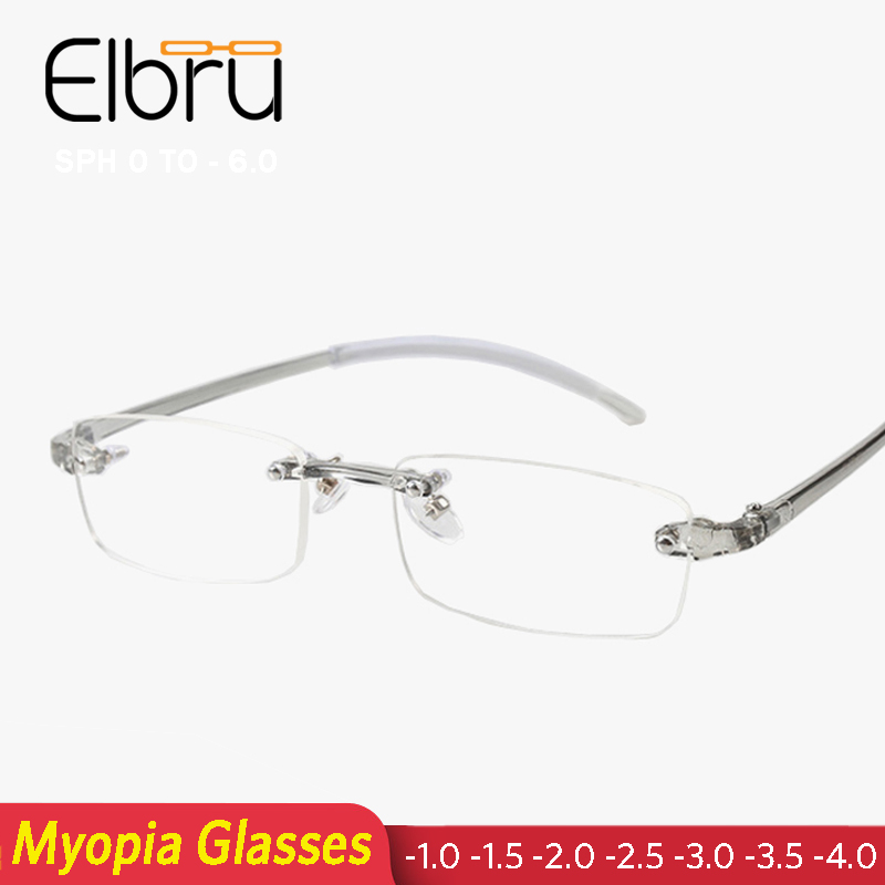 Elbru Rimless Finished Myopia Glasses Ultralight Shortsighted Nearsighted Glass Women Men Metal Frame -1.0 1.5 2.0 2.5 3.0 3.5 4