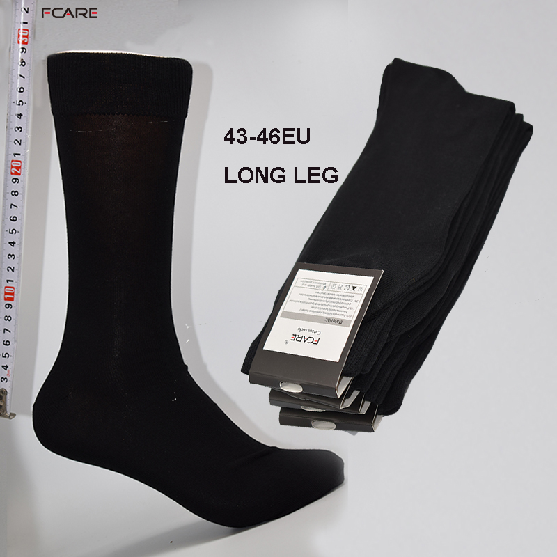 Fcare 8PCS=4 pairs 43,44,45,46 long leg business socks calcetines men cotton crew dress wedding black socks calcetas hombre