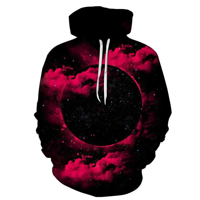 새로운 3d 우주 갤럭시 갤럭시 남자 까마귀 봄과 가을 패션 프린트 포켓 drawstring 후드 티셔츠 캐주얼 풀오버