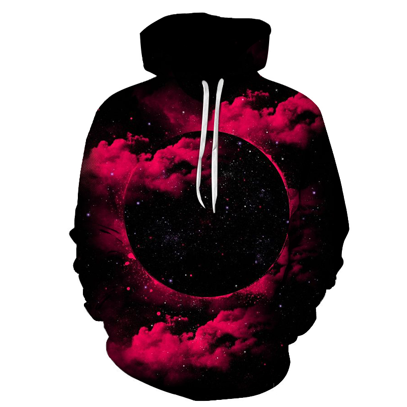 New 3D space Galaxy galaxy men's hoodie spring and autumn fashion print pocket drawstring hooded sweatshirt Casual pullover