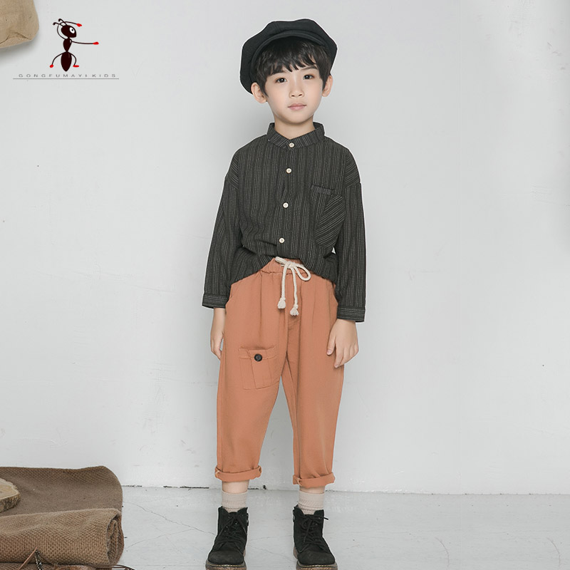 Kung Fu Ant 2018 Antumn Casual Boys Clothes Suit Striped Shirts Soild Pants 2pc Set For The Boys Full Sleeve Coat Kids Clothes boys ribbed striped pants