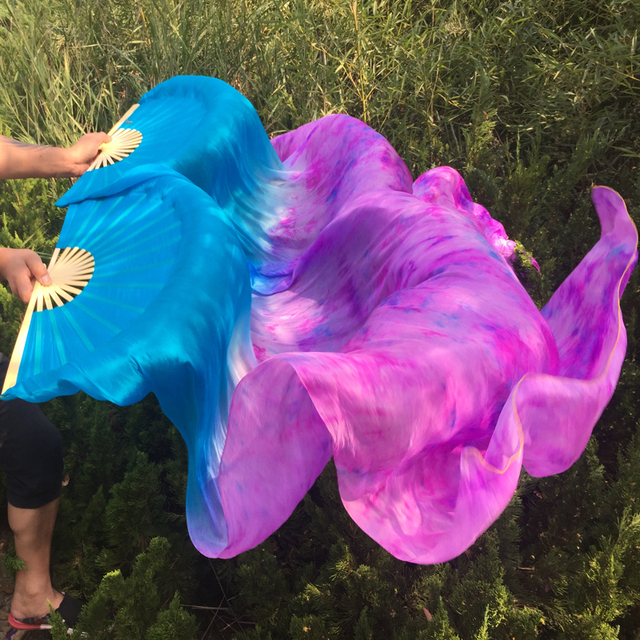 e64148c69 high quality Belly Dance 100% Silk Fan Veils tie-dye colorful Professional dancing  Silk Veil Fans 1.5M,1.8M,.2.1M available