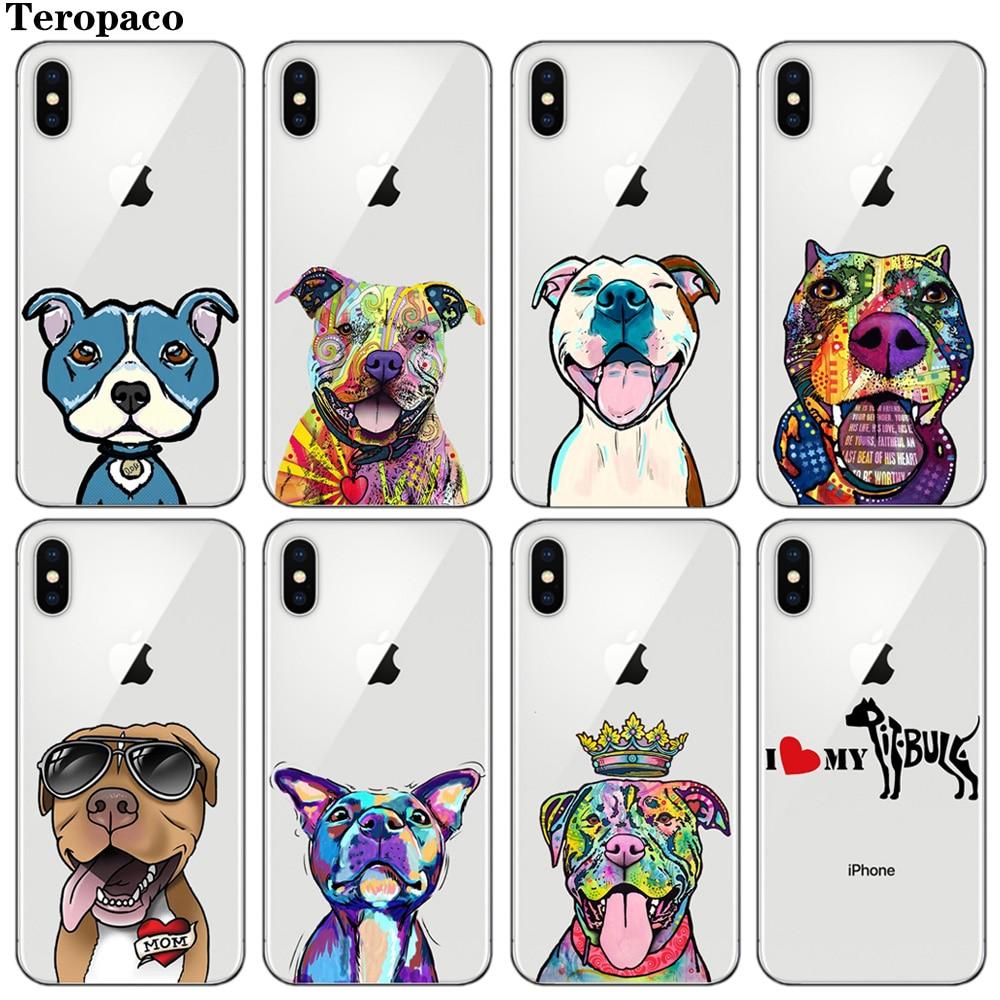 Pitbull Cute Dog Soft TPU Silicon Phone Cover Case For iphone X XS Max XR 7 7Plus 8 8Plus 6 6S 6Plus 5 5S SE Собака