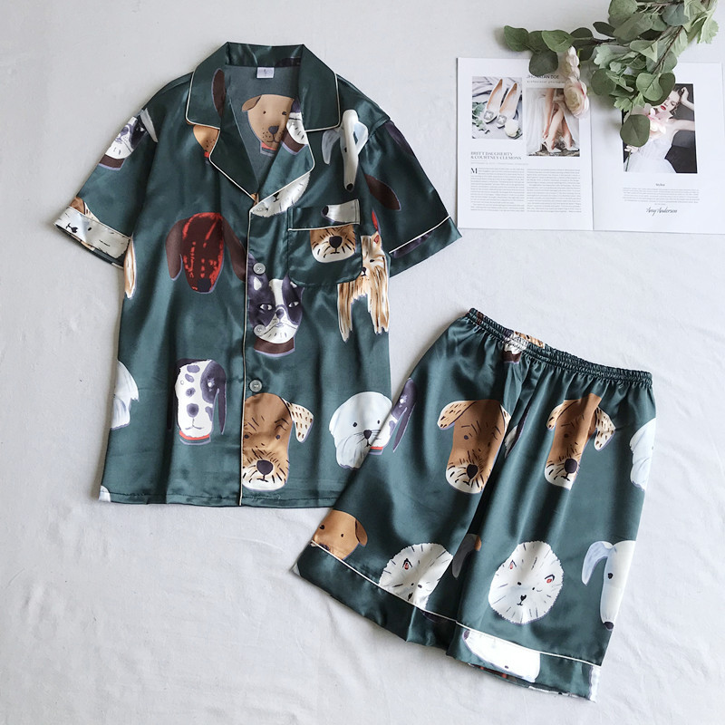 Print Dog Men&Women Nightwear Pajamas Set Casual Satin Couple Bathrobe Home Clothes Summer New 2PCS Shirt&Shorts Pijamas Suit