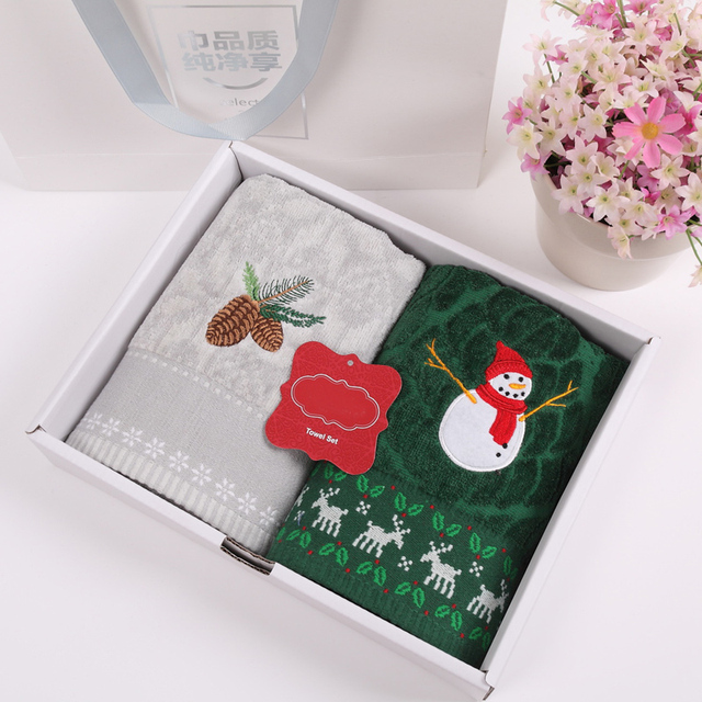 New high quality 100% cotton towel set cartoon pattern embroidered face  towels with gift box