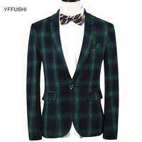 YFFUSHI New Arrival Men Suit Jacket Classic Green Grey Plaid Jacket Masculino Business Casual Style Classic Design