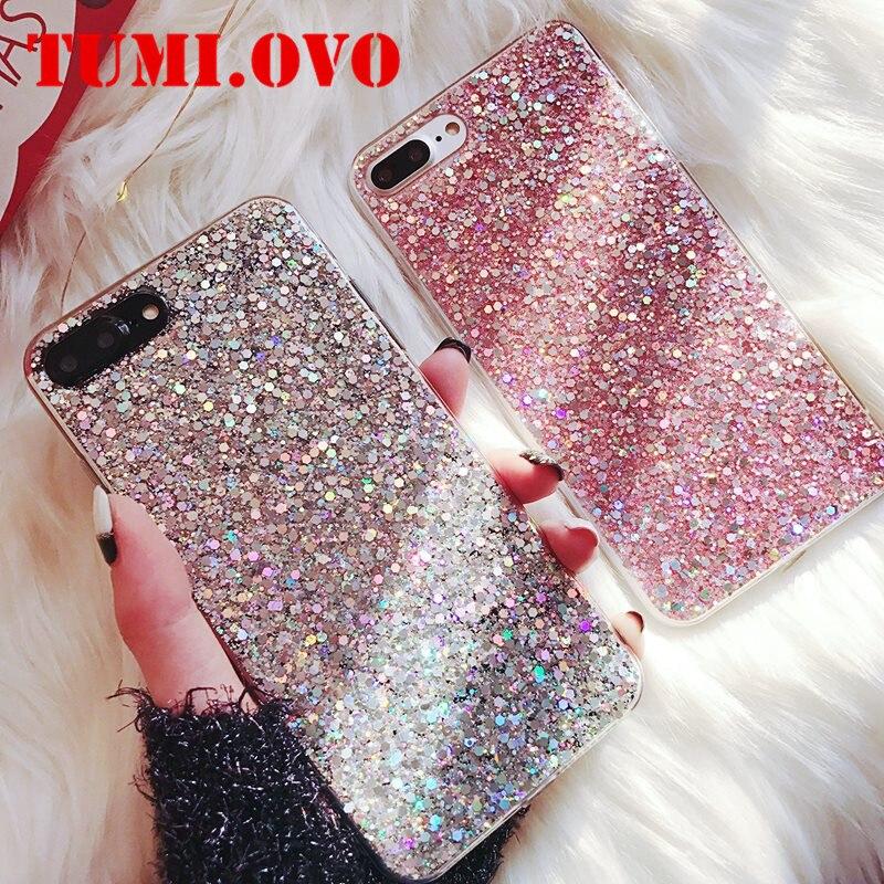 Funda de teléfono de lujo de silicona brillante con lentejuelas de cristal para Xiao mi A1 A2 5X8 SE 6X Red mi 4A 4X Note 4 5A 5 Plus 6 Pro 6A S2