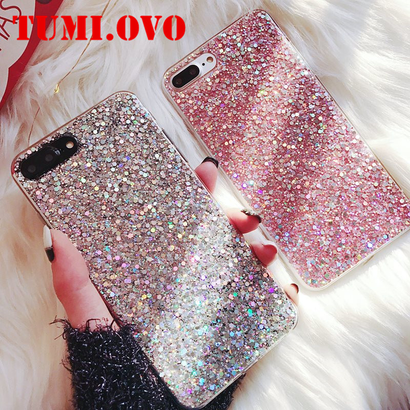 Luxury Silicone Bling Glitter Crystal Sequins Phone Case for Xiaomi Mi A1 A2 5X 8 SE 6X <font><b>Redmi</b></font> 4A 4X Note 4 5A 5 Plus <font><b>6</b></font> Pro 6A S2 image
