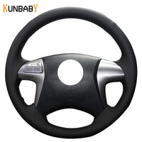 KUNBABY Genuine leather Color Gray Black Red Car Steering Wheel Cover for Toyota Fortuner Hilux 2012 2015