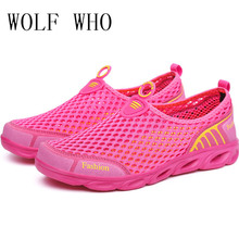 Wolf Who Summer Women Air Mesh Water Breathable Beach Shoes Platform Casual Ladies Krasovki Slipony Slip On Loafers Female x407