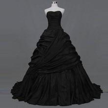 Real Photo Black Gothic Wedding Dresses Bridal Victorian Ball Gowns Draped  Plus Size Wedding Dress Robe de Mariage