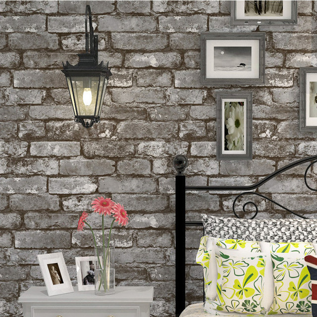 Vintage grey brick texture design non woven wallpaper roll tv ...