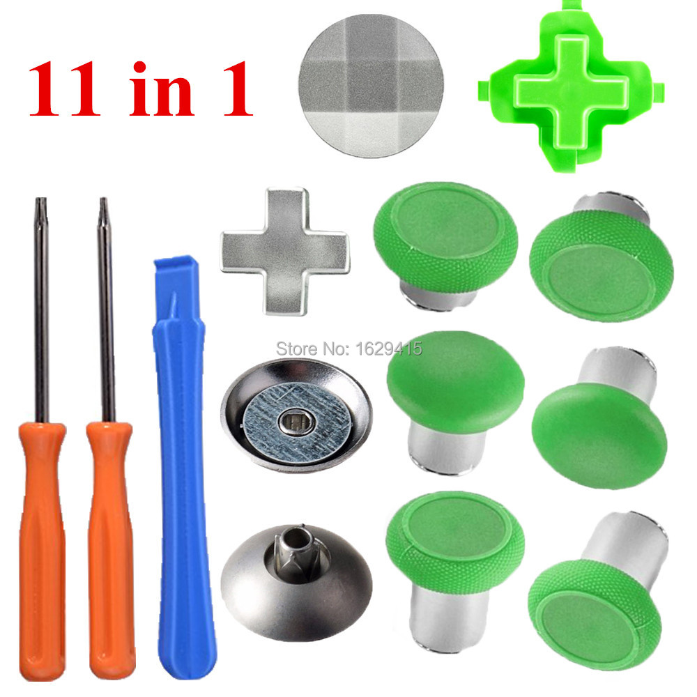 IVYQUEEN 11 in 1 Magnetic Thumbsticks Grips for <font><b>XBox</b></font> One S / Elite Controller Swap Analog Sticks with Metal Dpads Button Mod Kit