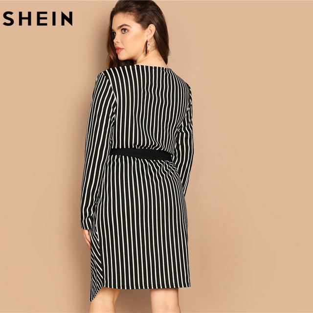 SHEIN Black and White Plus Size Deep V Neck Striped Dress Asymmetrical Hem Women Workwear Going Out Elegant Dresses 1