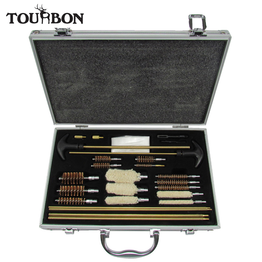 Tourbon Universal Gun Cleaning Kit Brass Rifle Pistol Handgun Shotgun Firearm All-In-One-Plus Maintenance Aluminum Carry Case 2016 tourbon design tactical handgun magazine carry bag canvas with pu pistol case zippered black pouch wholesale