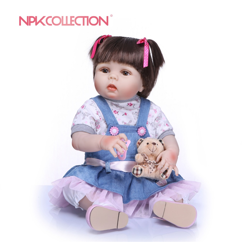 NPKCOLLECTION New Real 56CM Full Body Silicone Girl Reborn Babies Doll Adorable Lifelike Toddler Baby Kids
