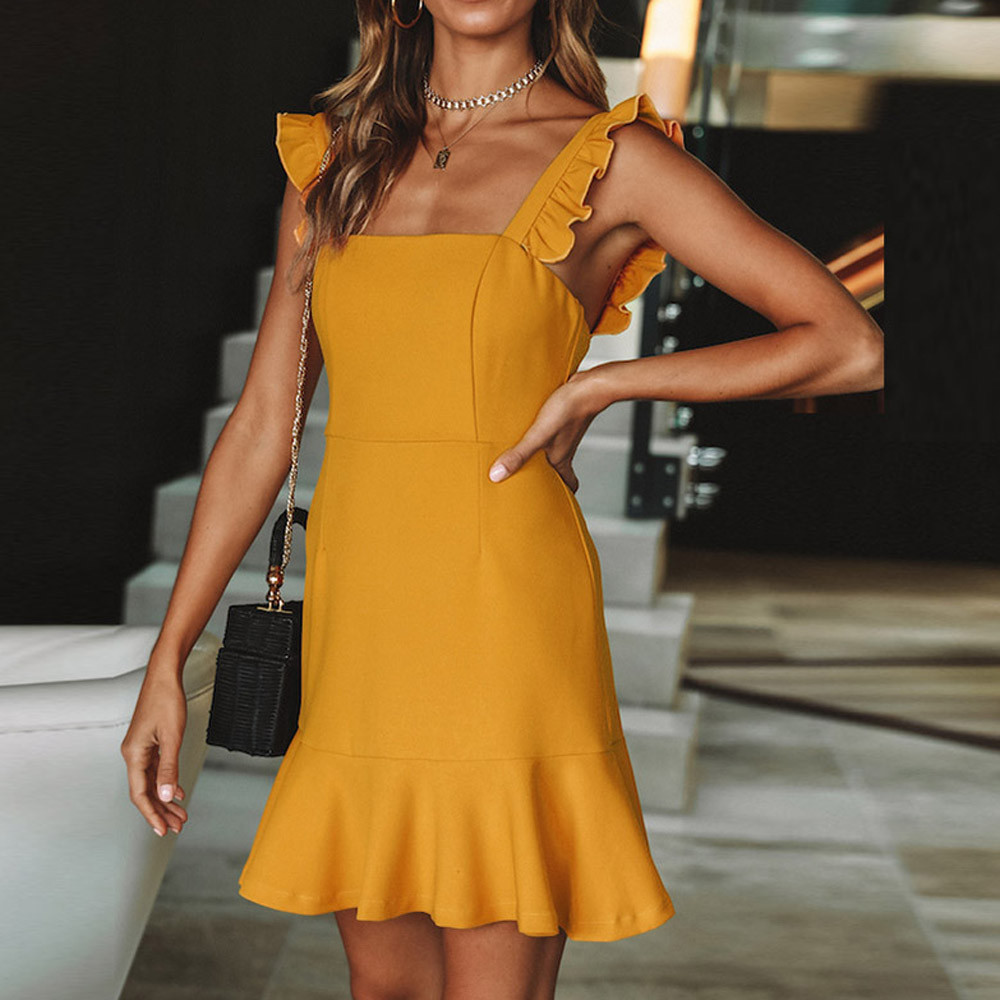 Fashion Womens Casual Ruffles Sexy Sleeveless Backless Solid Party Mini Dress Women Dress Elegantsummer women dress loose be