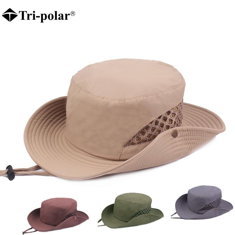 Tri-polar 2018 Outdoor Hiking Caps Men Summer Sun Hat Wide Brim Side Snap Chin Cord Fishing Hunting Hats Cotton Hiking Caps