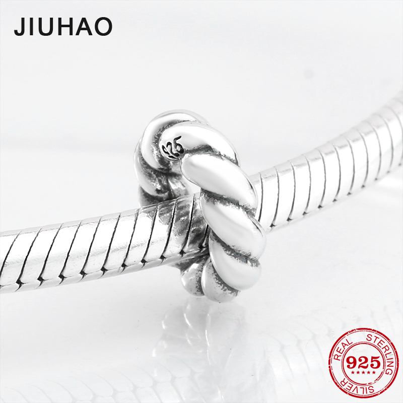 New 925 Sterling Silver charming rope round shape beads Fit Original Pandora Charm Bracelet Jewelry making