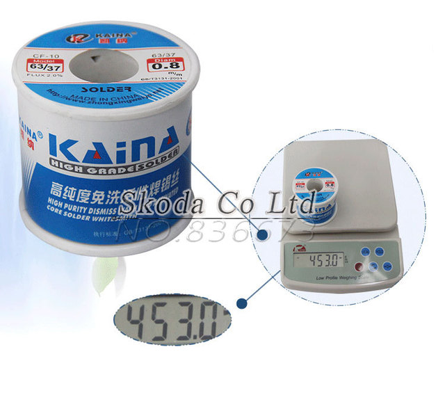 Free shipping KAINA 0.4/0.5/0.6/0.8/1mm 450g Solder Wire 63/37 Tin Lead Tin Wire Solder Rosin Core Solder Flux Soldering Welding 2