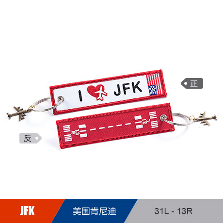 US John F. Kennedy International JFK Airport Luggage Tag Embroider Metal Plane Best Gift for Flight Crew Pilot Aviation Lover