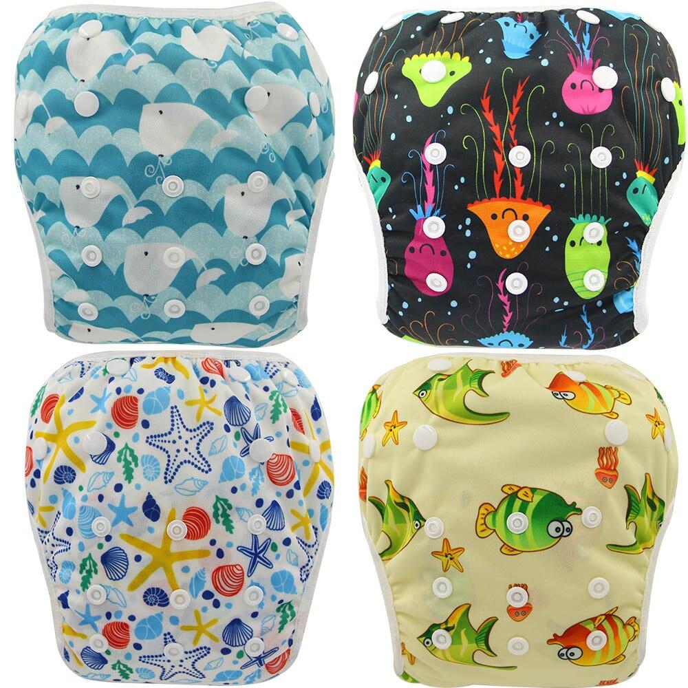 Ohbabyka Unisex Waterproof Diapers Adjustable Swim Diaper Pool Pant 10-40 Lbs Swim Diaper Baby Reusable Washable Pool Cover