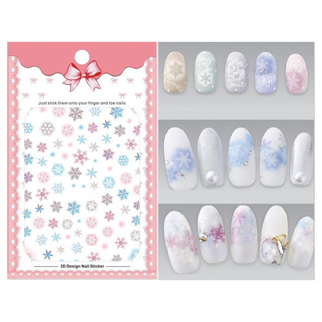 1 Sheet Snowflake Holographic Nail Art 3d Sticker Diy Designer