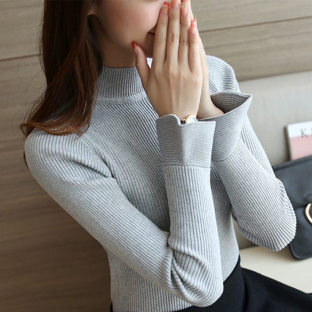 new Autumn spring women pullover sweater female Ruffles long-sleeve turtleneck Solid color basic knitting Flare Sleeve shirt top